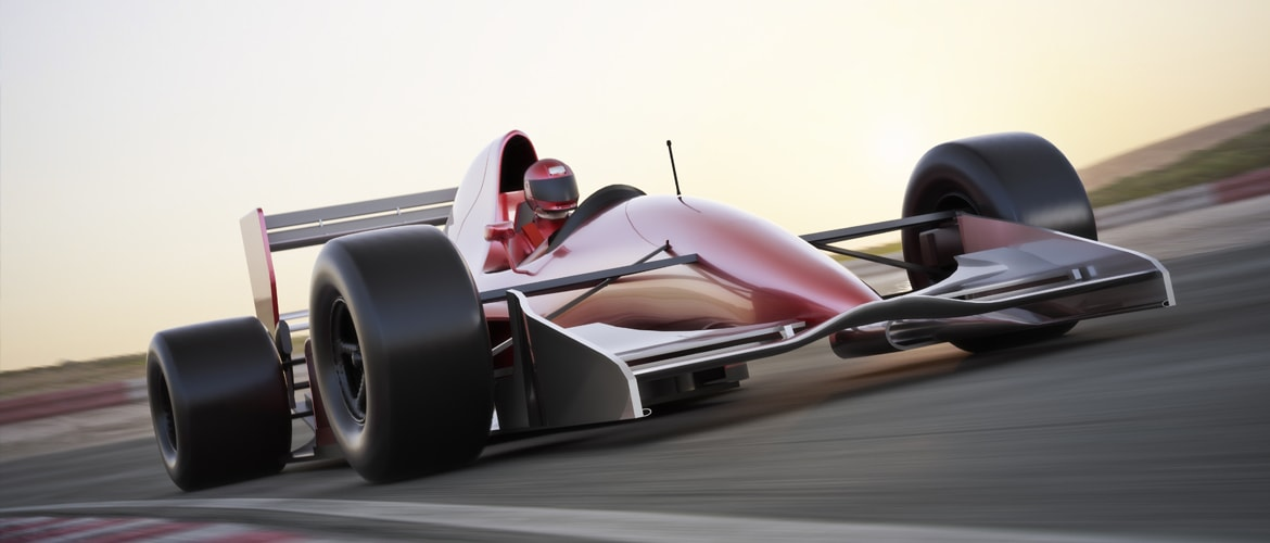 A formula one car shown as an example of thread insert use in motorsports
