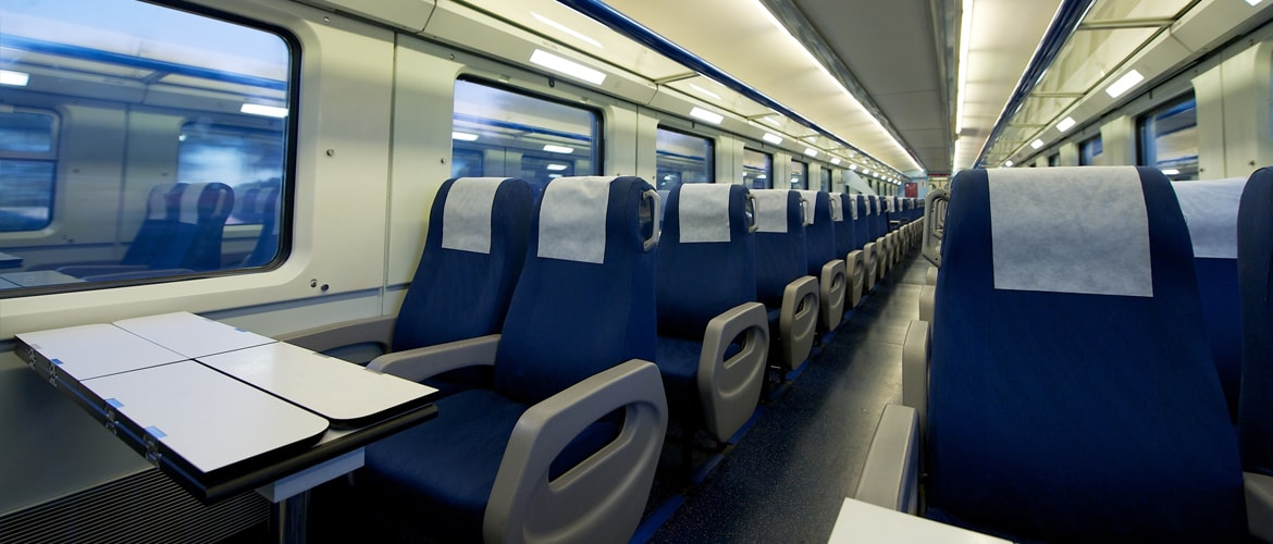 Train interior shown as an example for thread insert use in transport