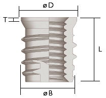 Trisert-3 self tapping thread inserts reduced headed design