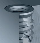 The Tappex Trisert-3, a self tapping threaded insert available in steel and titanium.