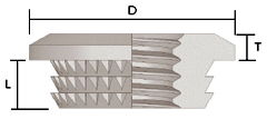 Microbarb design, a barbed large-headed thread insert